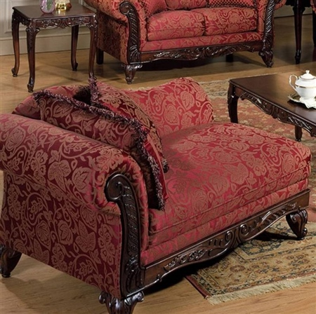 Victorian style chaise lounge burgundy gold paisley french for Burgundy chaise lounge