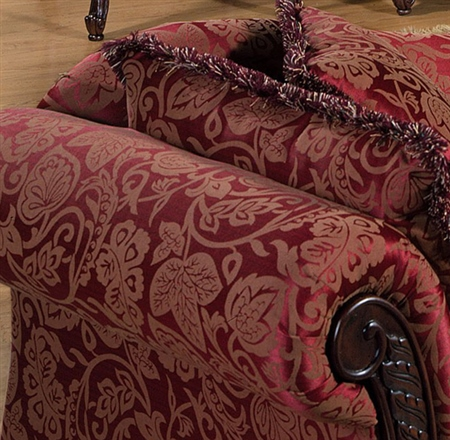 Victorian Style Chaise Lounge Burgundy Gold Paisley French