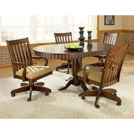 Chesterfield dinette set rnd table swivel padded chairs w for Dining room table with swivel chairs