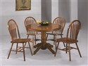5Pc Country Solid Oak Nostalgia Round Dining Set