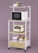 Kitchen Microwave Rack Cart Stand ~ White