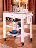 Kitchen Carts Caster Kitchen Island with Marble To