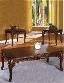 Walnut Carved Coffee Table and 2 End Tables