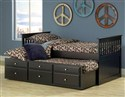 Black Captains Bed with Trundle and Storage