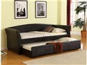 Tranquil Classic Black PU Daybed with Trundle