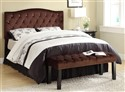 BED8800 Brown Suede Crystal Tufted Bench