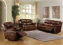 Chestnut Top Grain Leather Motion Sofa and Lovesea