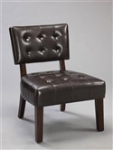Espresso Faux Leather Accent Chair