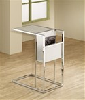 White Glass Magazine Storage Stand
